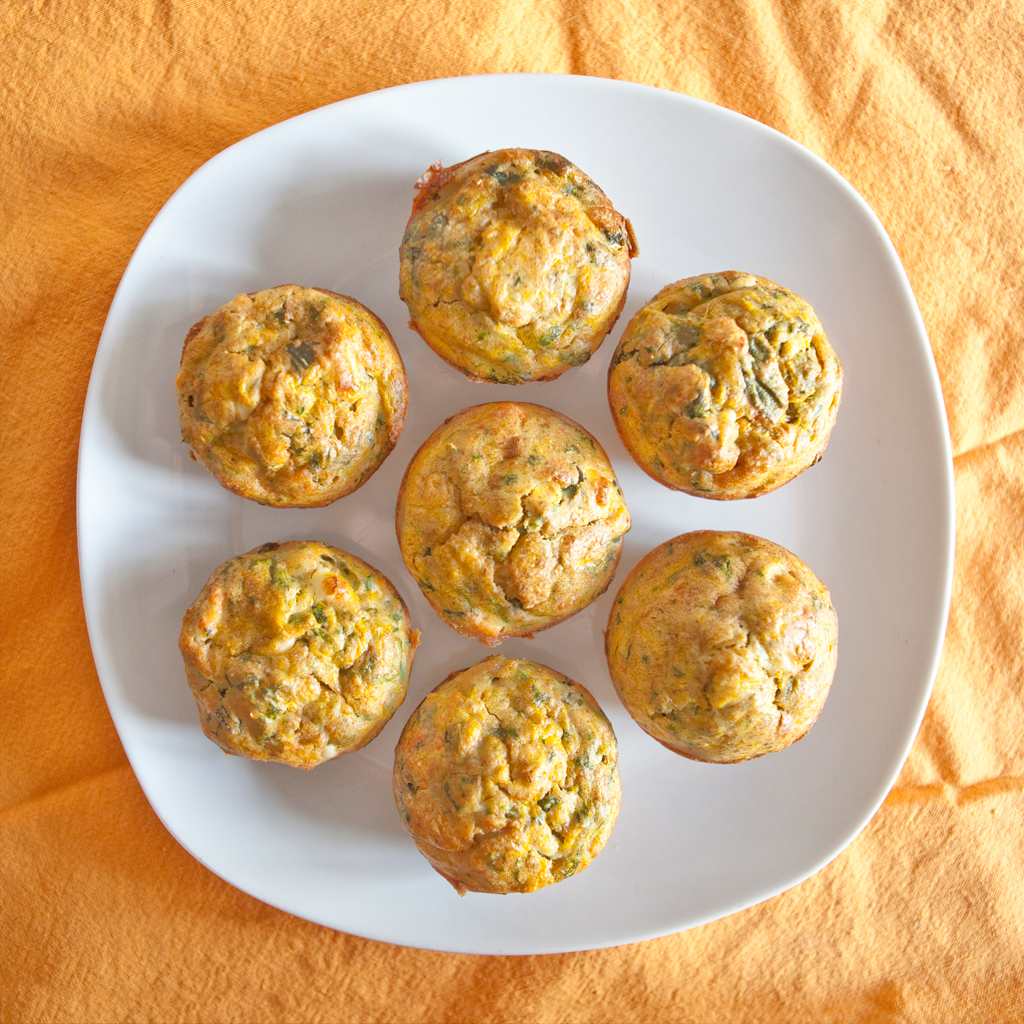 Pumpkin, Spinach and Feta Lunchbox Muffins | Really living it
